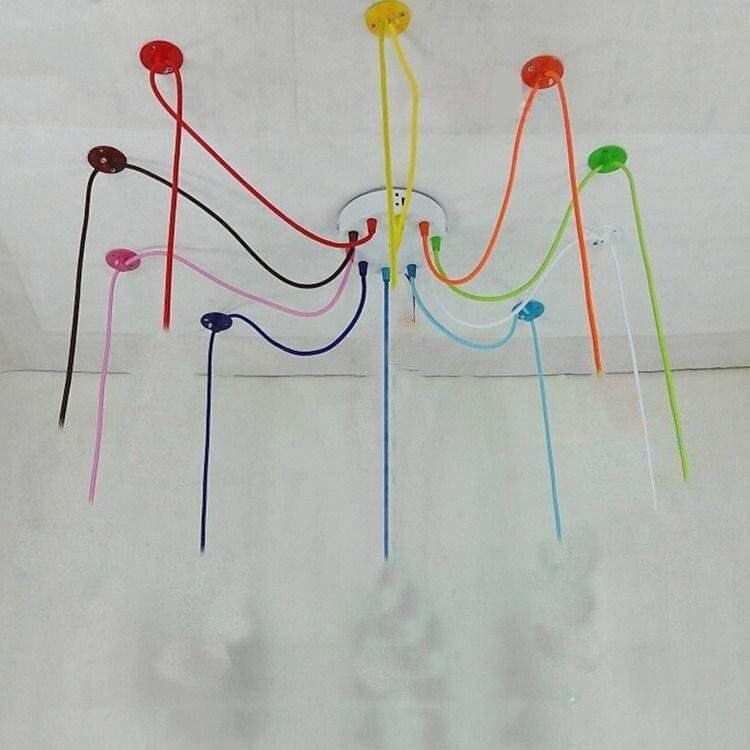 Candelabro de luz Edison colorido nórdico moderno, lámpara ajustable para comedor/sala de estar DIY E27, lámpara de araña artística para techo, accesorio de luz