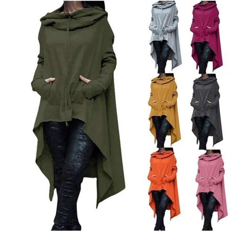 Otoño Invierno mujeres Batwing con capucha asimétrica Casual de manga larga abrigo suelto poncho pullover capa Sudadera con capucha señoras sudaderas