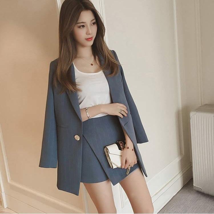 Blazer listrado moda feminina, conjunto coreano simples jaquetas e slim mini saia duas peças ol roupa feminina 2018 azul