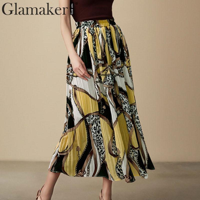 Falda plisada con estampado de leopardo amarillo Vintage de la gasa del verano Falda larga de las mujeres de los fondos de la cadena forrada