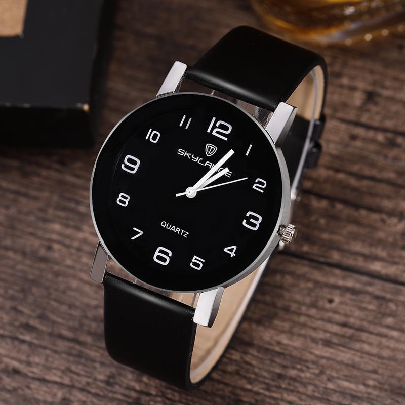 ¡Gran oferta 2019! reloj negro para Mujer, correa de cuero de acero inoxidable, reloj de pulsera analógico de cuarzo, relojes informales para Mujer
