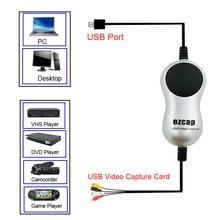 Ezcap boîtier de Capture vidéo HD USB2.0, adaptateur TV DVR pour enregistreur, convertisseur analogique, Audio ou numérique pour Windows 10 8 7