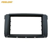 FEELDO 2Din Car Stereo Radio Panel Fascia Stereo Frame Trim For Mercedes BENZ Smart 2010 Dash Refitting Kit #FD5113