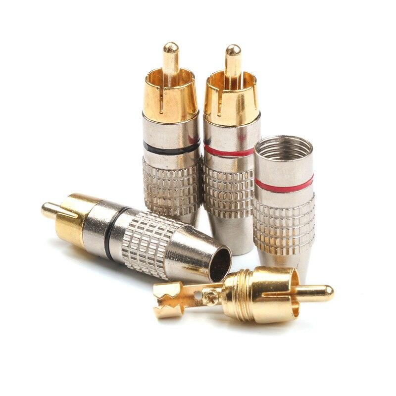 4 pces rca banana plug 6.3mm macho auto-travamento lotus fio conectores alto-falante adaptador de áudio kit