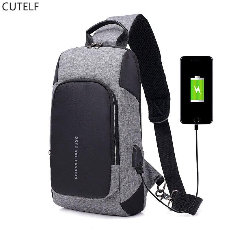 Mochila de lona de carga USB para hombre, bolsa de ocio, bolsa de pecho resistente al agua, bolsos de hombro de un solo hombro 2019 nuevo
