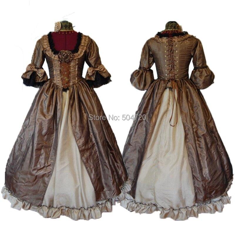 ¡A medida! Brown Royal 18 Century Duquesa francesa Retro renacimiento medieval recreación teatro guerra Civil victoriana vestido HL-448