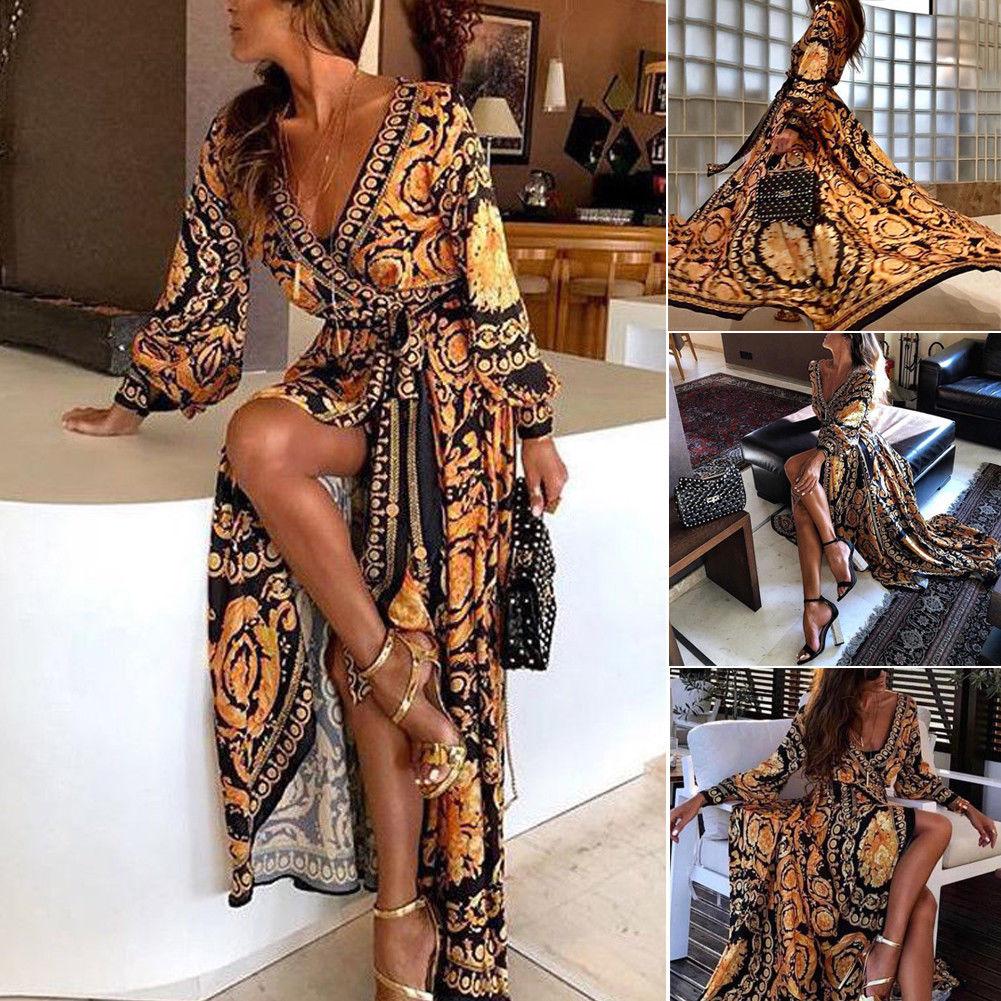 2019 New Style Fashion Elegant Women Sexy  Neck Glitter Deep V Neck Print Party Dress Formal Long Dress Sexy Clubwear