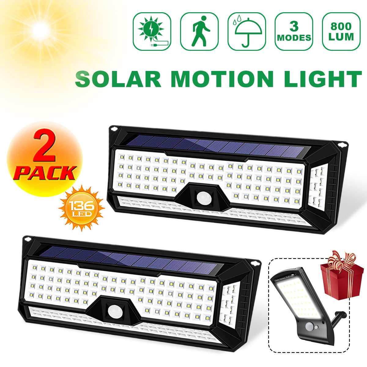 Luces solares de jardín impermeables 136 LED 1810LM, luz de pared LED Solar para exteriores, 3 modos, Sensor de movimiento PIR de 270 grados