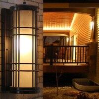 Large Outdoor vintage glass garden lighting Cafe retro Black outdoor wall lamp Balcony bar antique waterproof outdoor wall light