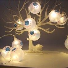 10 20 LED Halloween citrouille globe oculaire fête de vacances drôle carnaval chaîne lumière lueur fête fournitures