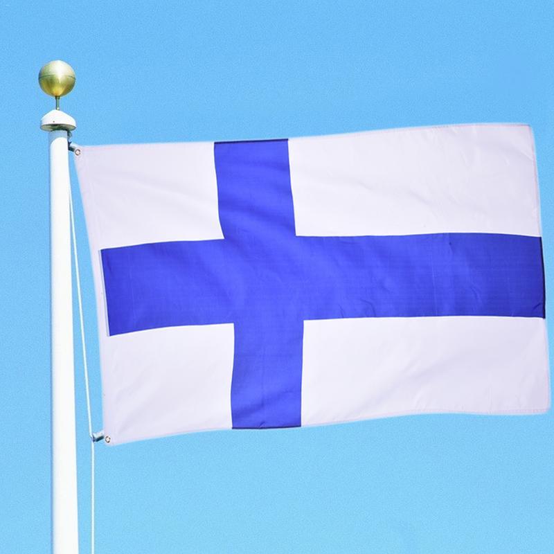 90x150cm Suomen Kansanvaltainen Tasavalta Suomi Finlândia Bandeira Banner Siniristilippu Feliz Presentes de Alta Qualidade de Tecidos de Poliéster