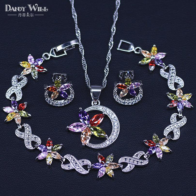 Ювелирные изделия серебряного цвета, разноцветные камни, кубический цирконий, набор ювелирных изделий для женщин, серьги/кулон/ожерелье/браслет