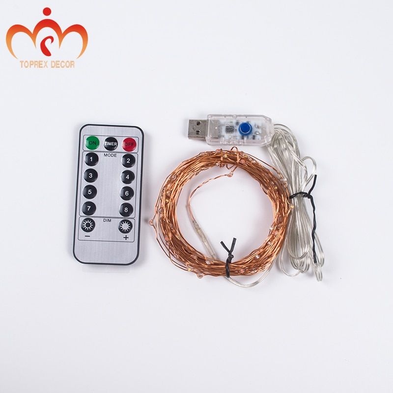 USB RGYB 8 models of Twinkling with remote 10m LED copper string light xmas decoration LED fairy lights garland enlarge