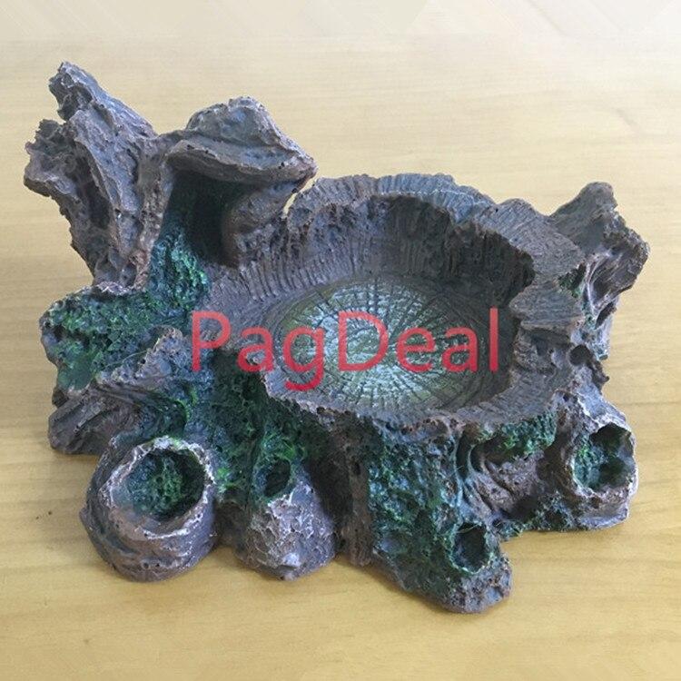 Cuenco de alimentación para reptiles de rana y Tortuga, ornamento de cueva para terrario Vivarium, alimentador de agua para alimentos de 7,1 pulgadas * 6,3 pulgadas * 3,9 pulgadas