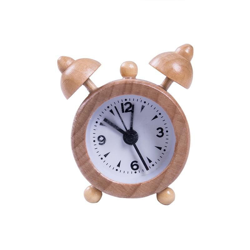 Reloj de alarma de doble campana de madera Vintage Retro, relojes ruidosos de escritorio, mesita de noche, Mini relojes de alarma portátiles nuevos de madera para viajes