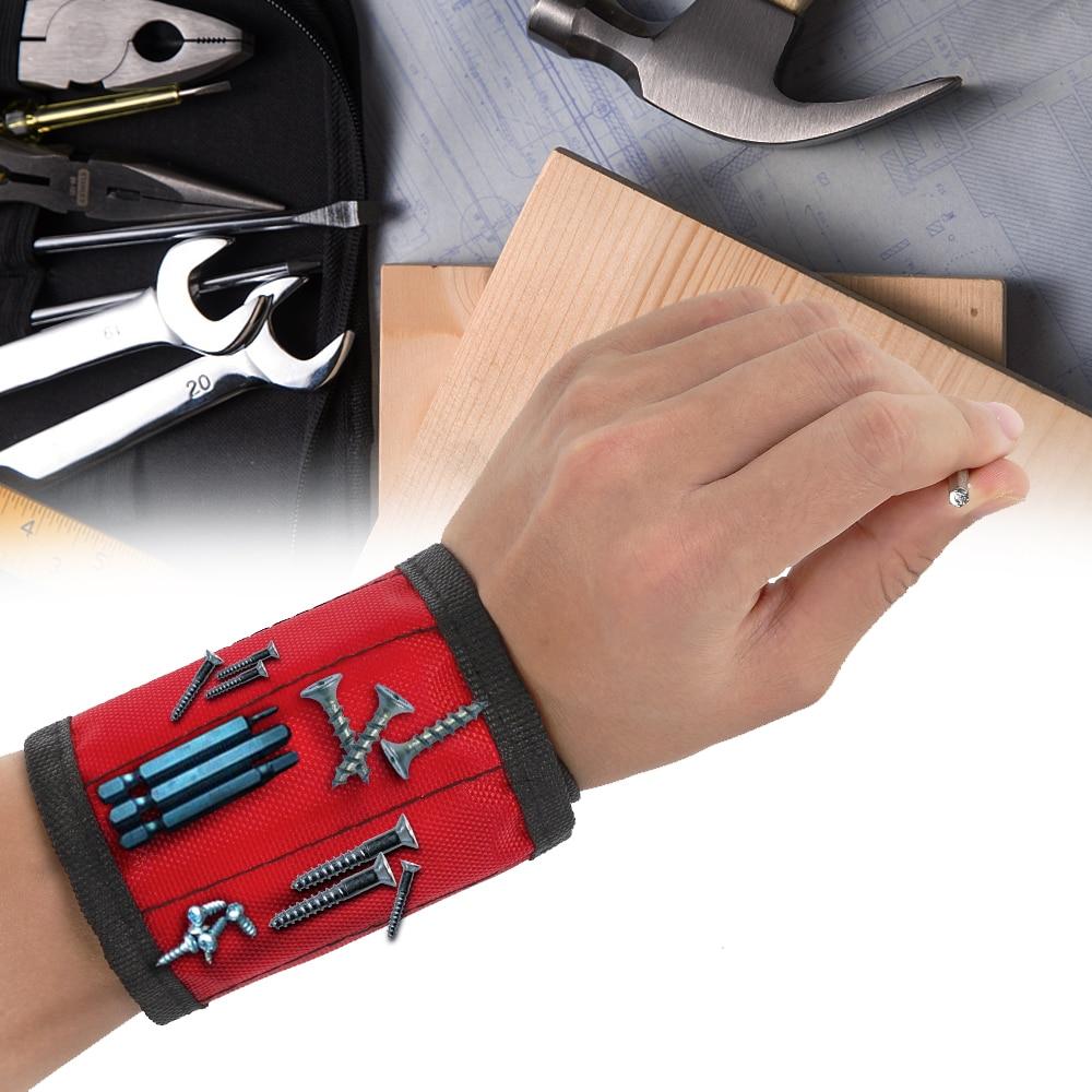 1 braccialetto magnetico, borsa porta attrezzi avvolgibile, supporto da polso regolabile per viti, chiodi e punte da trapano, braccialetto per riparazioni domestiche