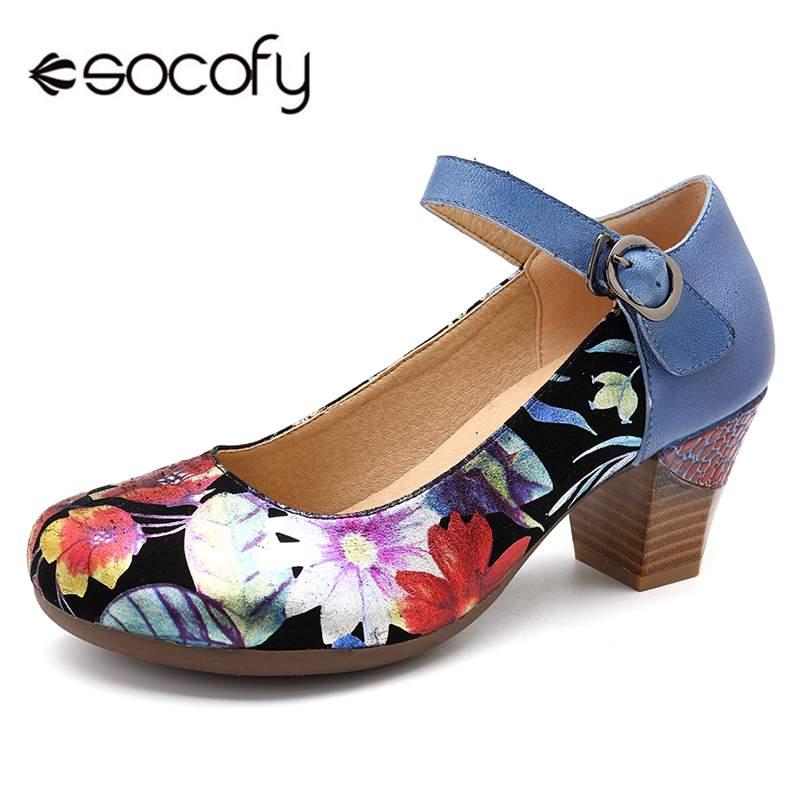 Socofy-حذاء نسائي من الجلد الأصلي بنمط عتيق ، حذاء بكعب عالٍ بإبزيم للكاحل ، بطبعة زهور ، لفصلي الربيع والخريف