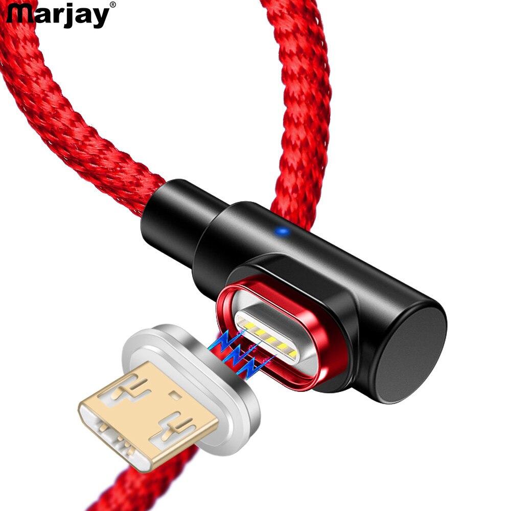 Marjay 90 grados Micro USB Cable magnético adaptador de carga rápida Cables de teléfono Microusb cargador Android para Samsung Xiaomi Redmi