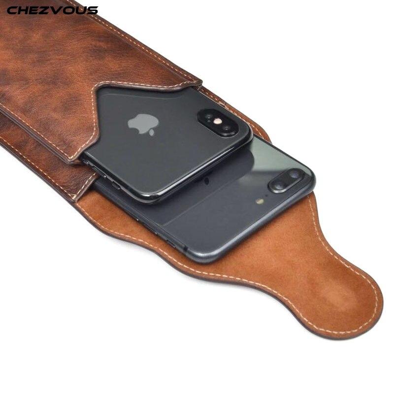 Clip para cinturón funda con cubierta para teléfono móvil de 6,5 pulgadas 2 bolsas para iPhone X XR XS MAX 7 8 6 plus para Samsung S10 S9 S8 plus