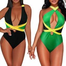 VOARYISA femme une pièce drapeau des caraïbes Rasta corps façonnage Monokini maillot de bain maillot de bain maillot de bain