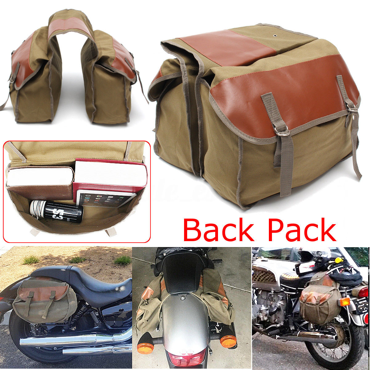 Alforja lateral de lona para motocicleta Equine Back Pack para ha-ley motocicleta Sportster mochila sillín con 2 bolsillos para Hon/da
