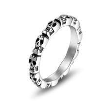 Unique squelette tête Fine anneau de polissage hommes et femmes en acier inoxydable anneau personnalité Unique Trendsetter bijoux anneau ne se décolore jamais