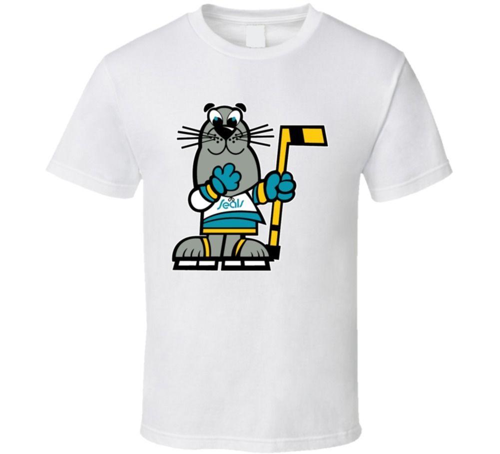 California Golden Seals mascota Sparky Wha camiseta-blanco