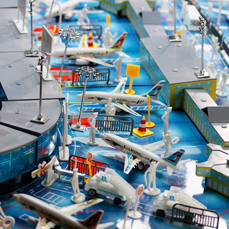 200 Uds juguetes de construcción en miniatura montado aviación estática juguete modelo de avión arreglo aeropuerto escena Set avión modelo de simulación Juguetes