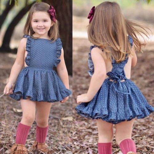 Летнее платье без рукавов в синий горошек для новорожденных девочек, вечернее платье с открытой спиной и перекрестной спинкой, От 1 до 6 лет