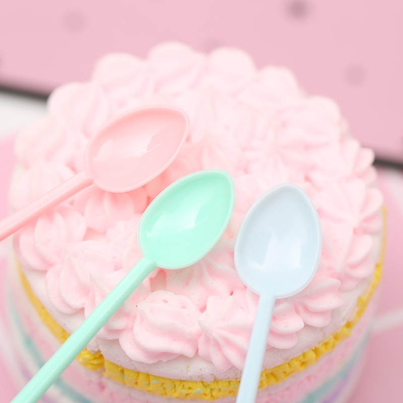 Plastic Kitchen Accessories Mini Ice Cream Tools Party Supplies Coffee Tea Spoon Disposable Portable Long Handle 30Pcs