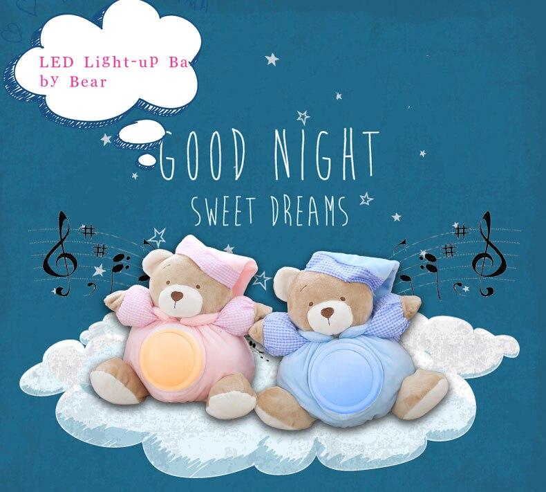 Baby toy 25cm Kawaii Teddy Bear Musical Light Plush Dolls Pat Lamp Sleeping Comfort LED Night Light Bear Toys for Children Gifts