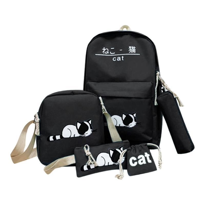 5 unids/set lindo gato bolsas de lona mochila de viaje para estudiantes bolso de mano de hombro cadena sólida diseño mochila escolar para adolescentes 2019