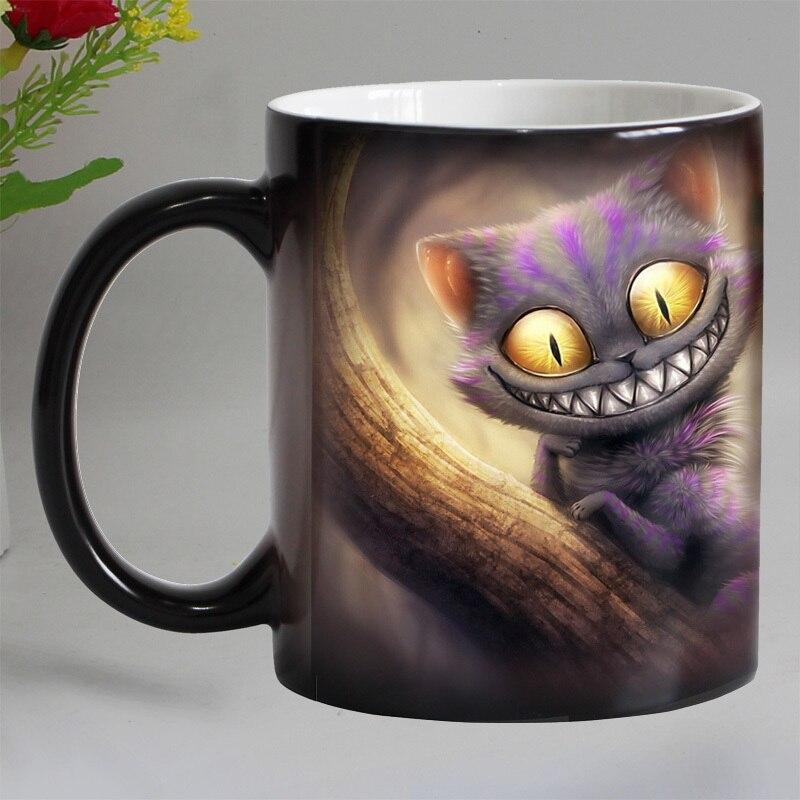 Envío Gratis sonrisa gato Animal calor sensible taza de café porcelana Color mágico cambio tazas de té regalo de Navidad