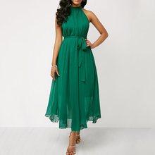 Chiffon Summer Dress Women Halter Sexy Party Black Off Shoulder Elegant Beach Lace Up Green Romantic Fashion Midi Dresses Female