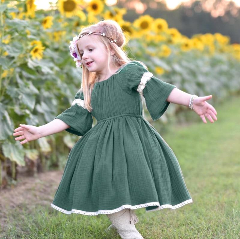 1-4T Fashion Toddler Kdis Baby Girl Flower Dress Elegant Summer Short Sleeve Lace Sundress Cute party Princess boho Beach Dress