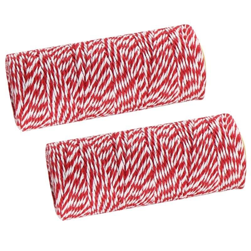 Подарочная Оберточная лента из хлопка веревка шпагата шнур 100 м красный 2