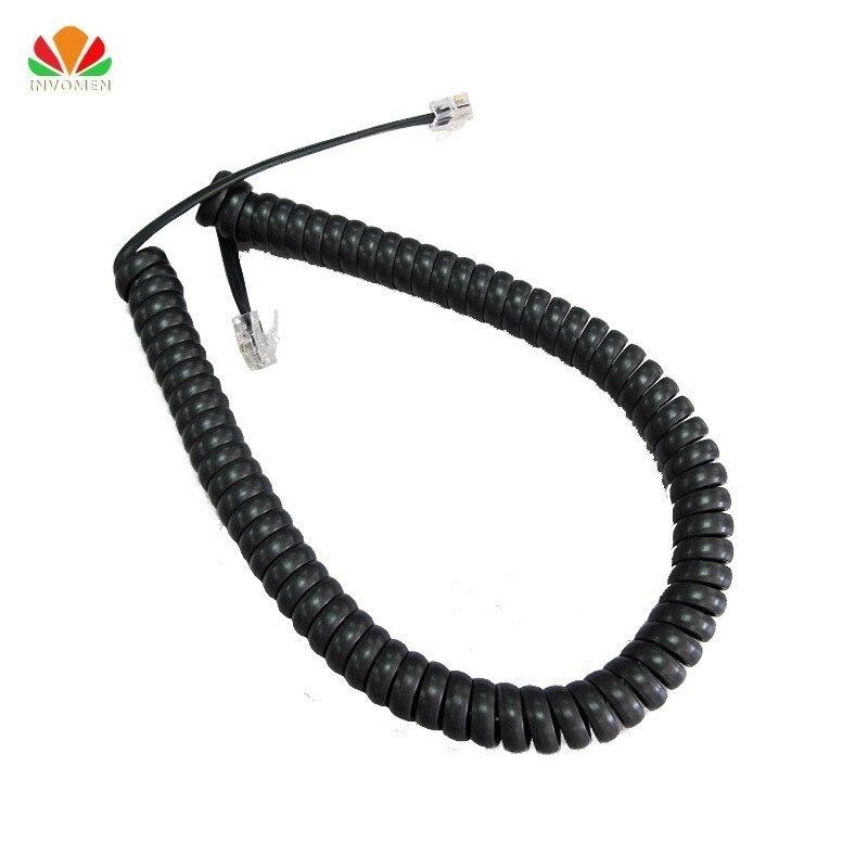 Cable de teléfono de 85cm de largo enderezar 5m Cable receptor de micrófono RJ22 4P4C conector Cable de cobre Cable de teléfono curva de volumen