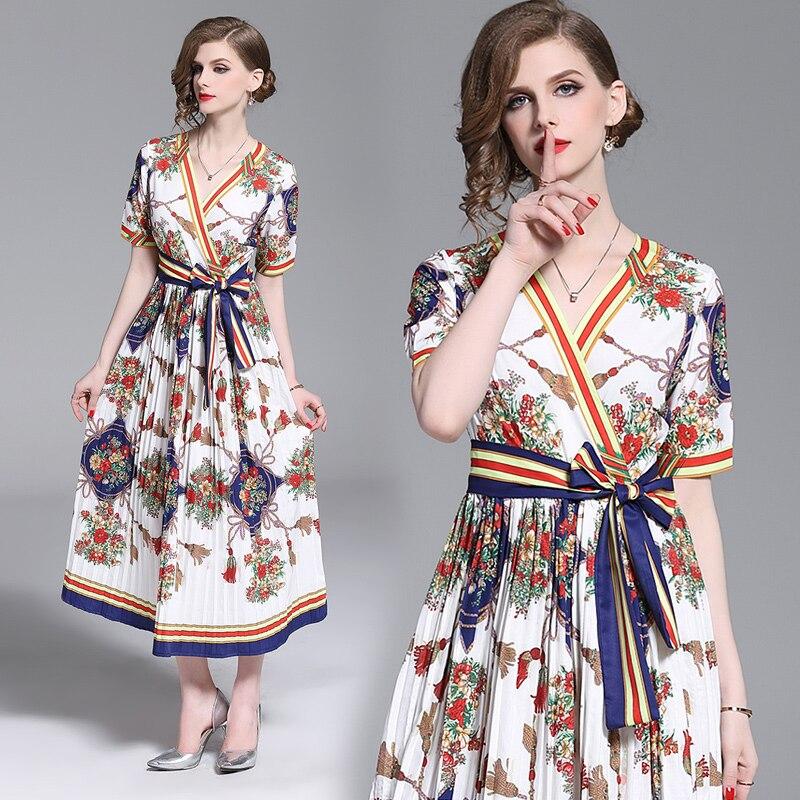 Runway Designers Women ladies Dress V neck bow tie up Waisted Fashion Casual Printed Vintage Dresses Vestidos robes v neck