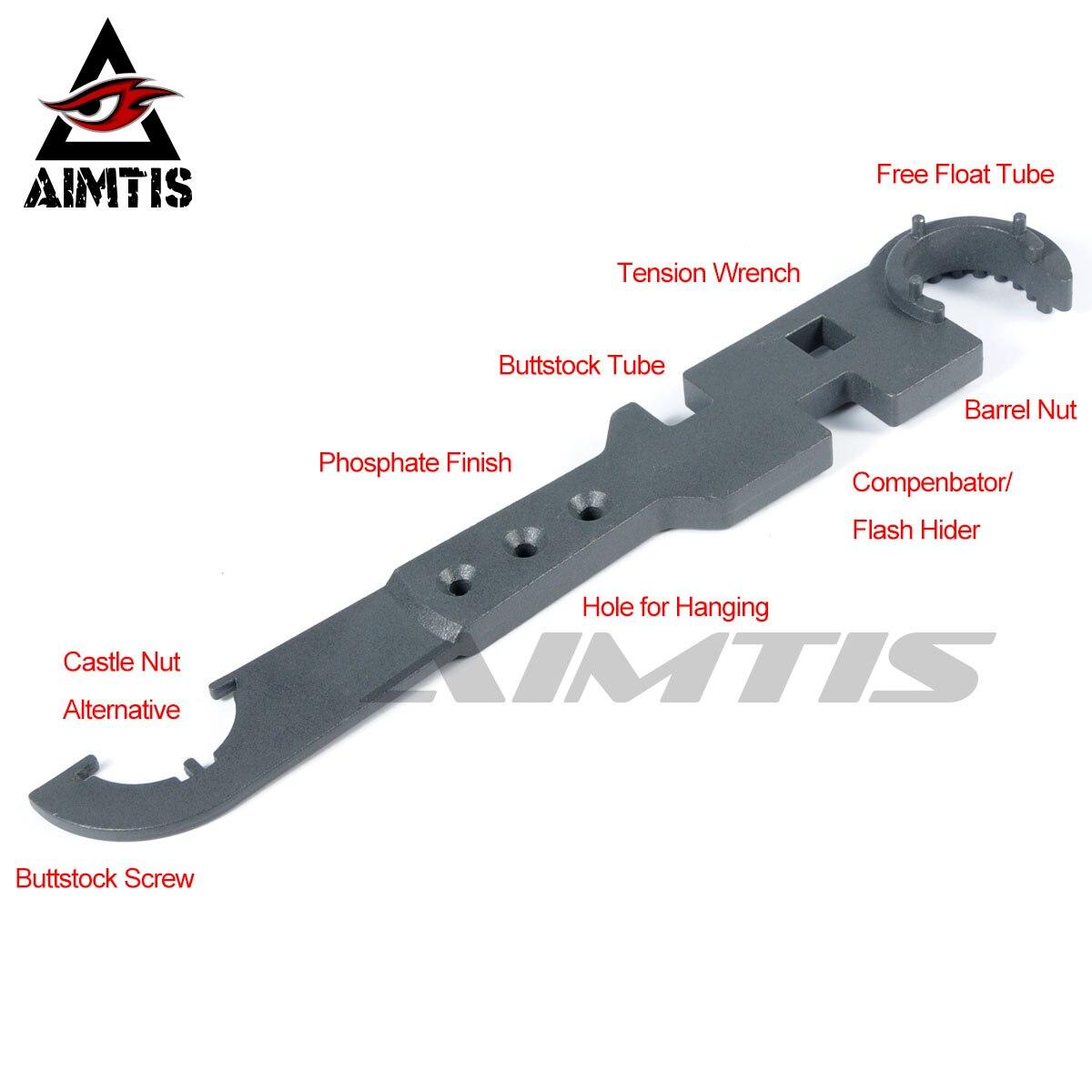 AIMTIS AR15 комбо гаечный ключ, инструмент включает замок гайка гаечный ключ баррель гайка гаечный ключ бутшток трубчатый инструмент намордник тормоза Flash Hider Handguar