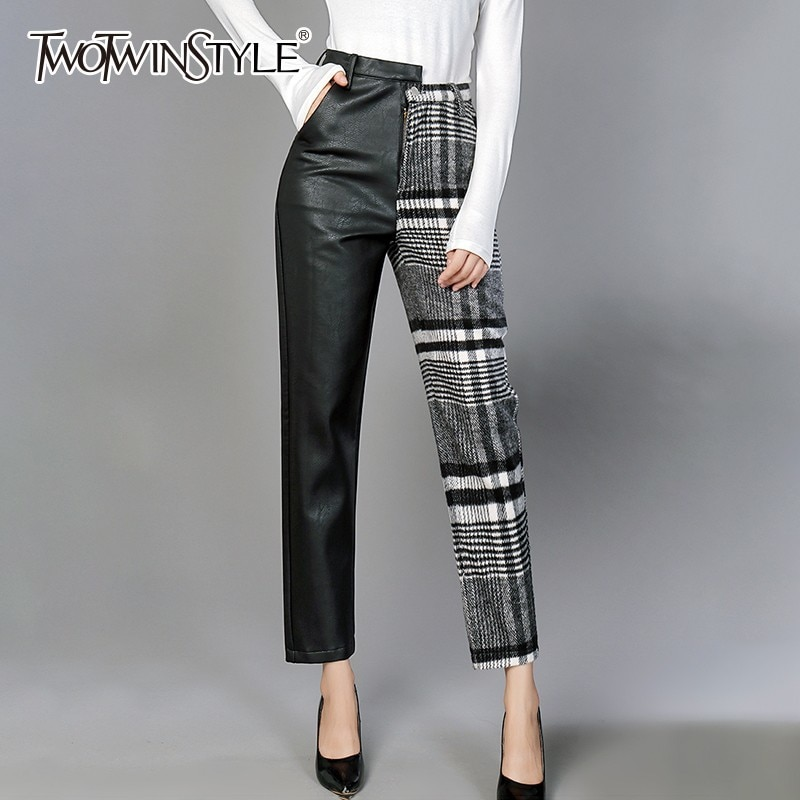 TWOTWINSTYLE بولي Trousers بنطلون للنساء عالية الخصر ضرب الألوان غير متناظرة المرقعة الكاحل طول الصوف السراويل الإناث 2020 ربيع جديد