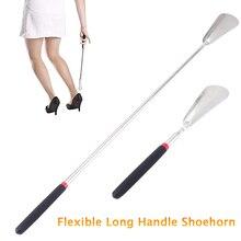 Lange Steel Schoenlepel Flexibele Silver Rvs Schoenlepel Stok Schoen Lifter Tool Professionele Schoen Lepel Tool 26.5 ~ 74.5 cm