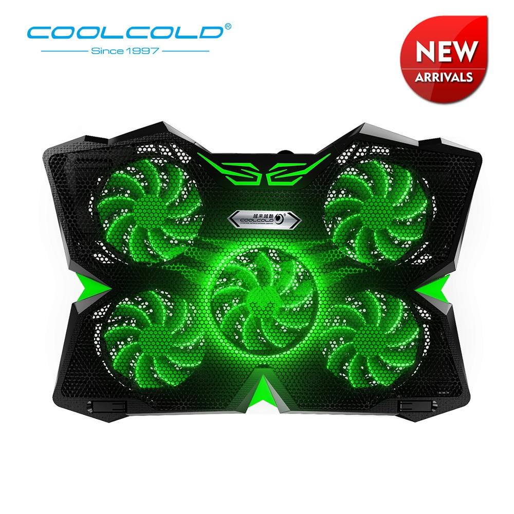 COOLCOLD جديد وصول 5 LED المشجعين محمول برودة تبريد وسادة USB 2.0 برودة الوقوف مع الحرير طباعة تصميم ل 12-17 بوصة دفتر