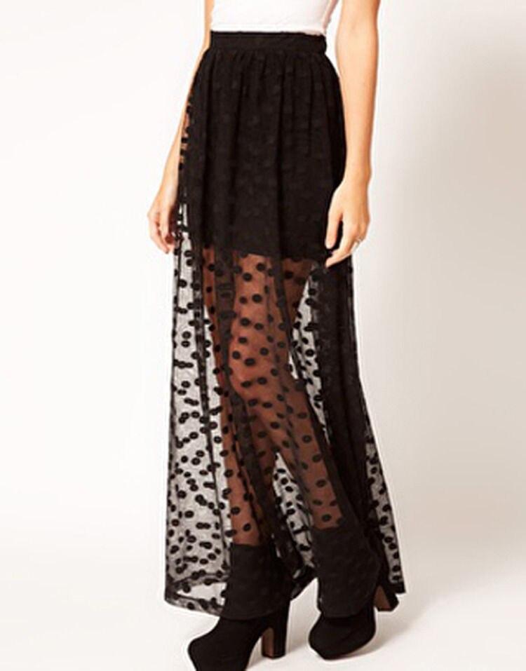 Women Fashion ladeis Girls summer Polka Dot Long Maxi Skirts casual high Elastic Waist layer lace mesh sweet long skirtsSkirt