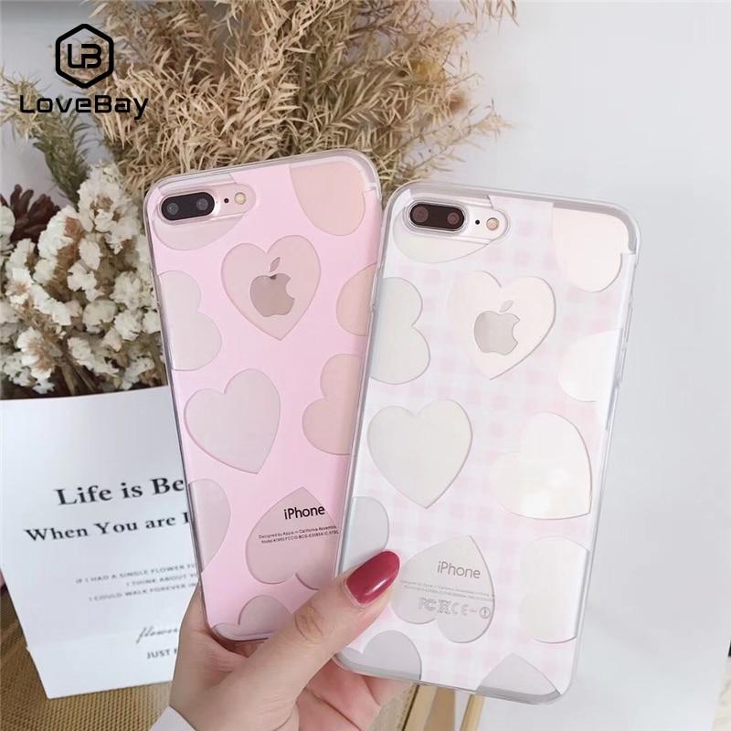Funda de teléfono Lovebay para iPhone 11 Pro X 8 7 6s Plus XR XS Max 5 5s SE Color caramelo encantador Corazón de amor suave TPU