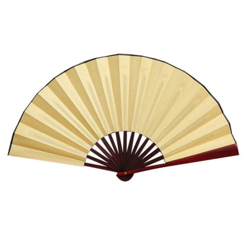 Abanico de mano plegable para hombre de bambú negro hilado de seda caligrafía pintura escritura baile chino Held Fans boda fiesta Favor (amarillo