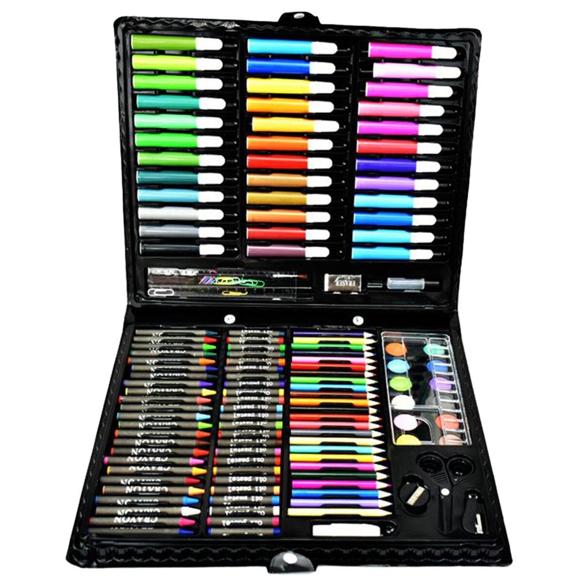 Juego de Arte de lujo, 150 Uds. Conjunto de herramientas para pintar bocetos para niños, bolígrafo de acuarela, pincel de pintura al óleo Pastel, bolígrafo de dibujo