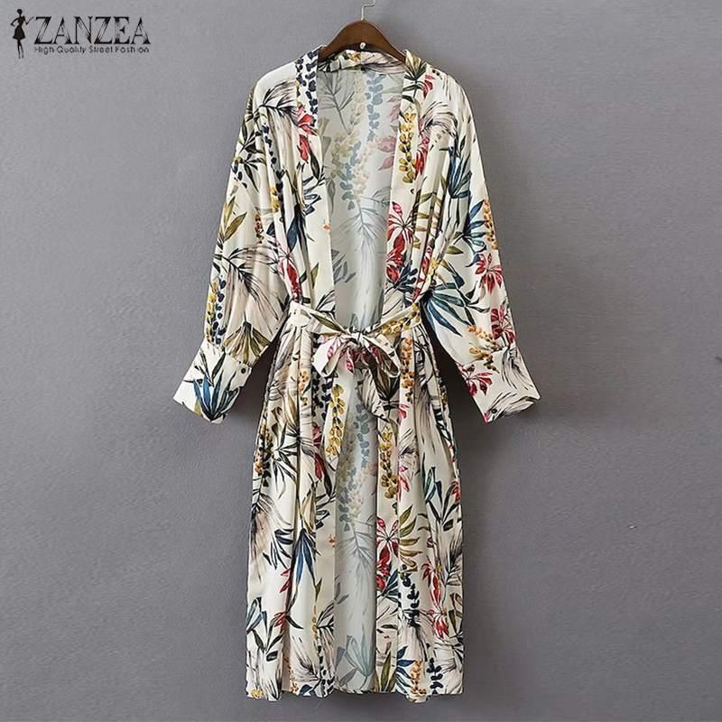 2020 ZANZEA Women  Floral Long Kimono Cardigan Summer Lace Up Beach Shirt Casual Ladies Long Sleeve Blouse Tops Blusas