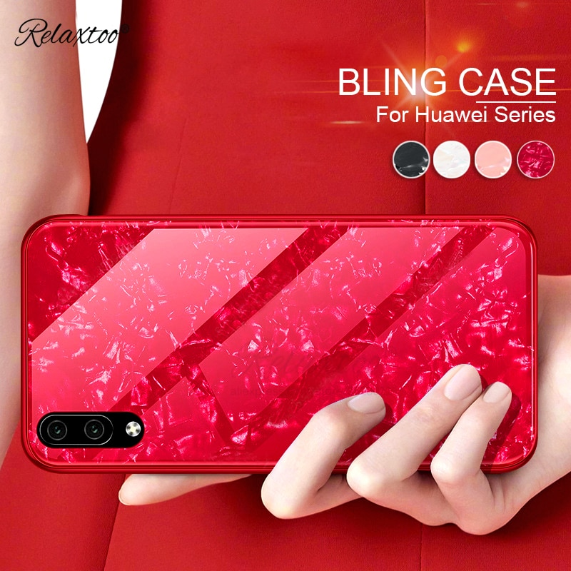 Funda de cristal templado de lujo Bling Shell para Huawei P30 Pro Lite funda de silicona marco duro 9H couqe en huawe p 30 p30lite