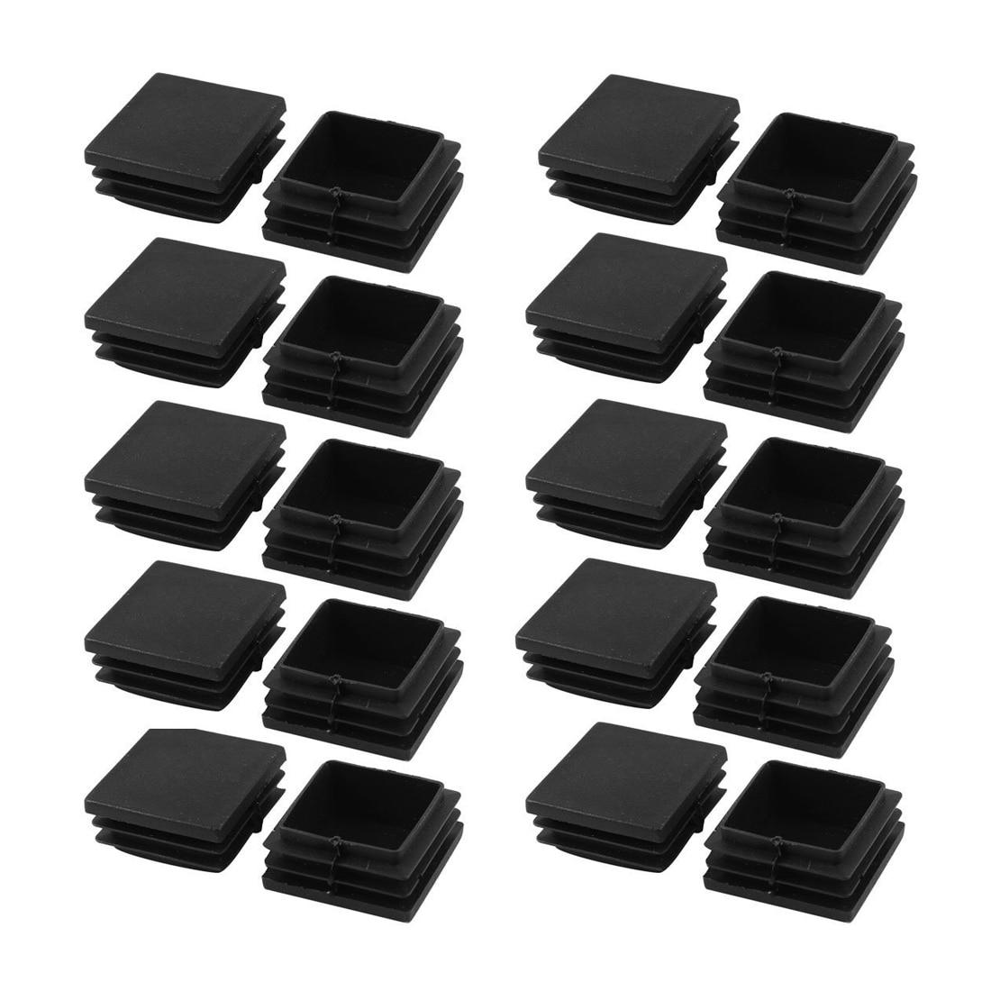 Promotion! 20 pieces Plastic square tube coupling cap plug 40 mm x black
