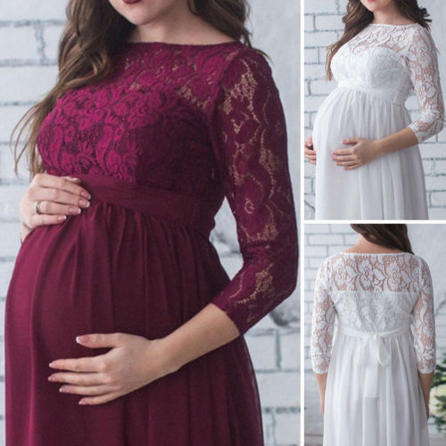 Pregnant Mother Dress New Maternity Photography Props Women Pregnancy Clothes Lace Dress For Pregnan